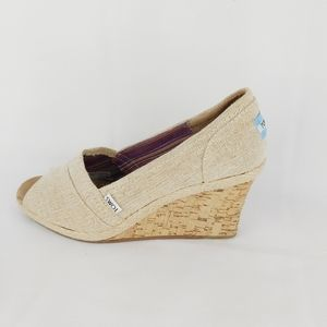 TOMS canvas cork wedges peep toes shoes